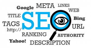 Tags, links, meta, and other words making a cloud concerning SEO.