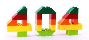 Error 404 made out of lego bricks