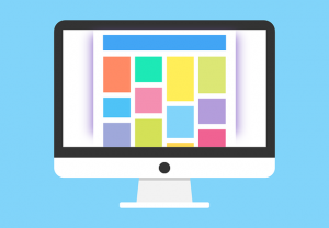 Illustration of a monitor showing visual elements of a web page.