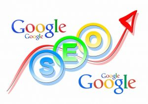 """Illustrated combination of words """"Google"""" and """"SEO"""", with an arrow in the middle."""