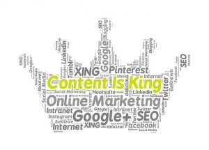 """Content is King"" written in a cloud of words."
