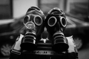 Two gas masks side by side.