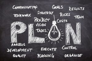 Business plan with tasks written on the board.