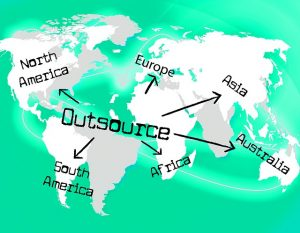 The world map showing outsourcing in all the continents.