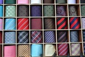 Ties carefully packed in brackets.