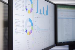 Analytic tools with results on the monitor screen.