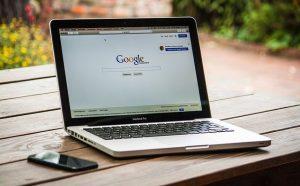 Google on laptop.