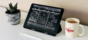 A tablet with website schematics
