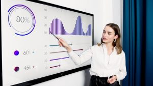 A girl is pointing to a graph on the screen.